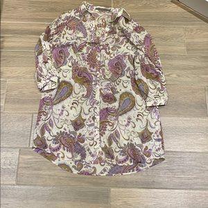 Zara purple design blouse top size Large